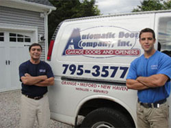 Our overhead door experts at a home in Stratford, CT